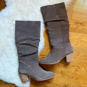 Bass Piper Taupe Brown Seude Heeled Knee Boots
